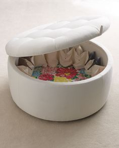 """Lily Pulitzer Home. """"Rousseau"""" Ottoman has a hinged lid concealing 16 pockets for shoes, plus a large open space for more shoes or handbags."""