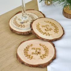 Merry And Bright Christmas Wooden Coasters | hardtofind.