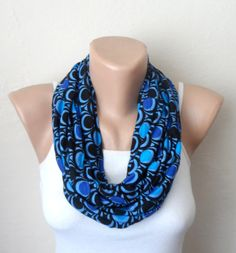 royal blue infinity scarf  black blue combed cotton loop scarf