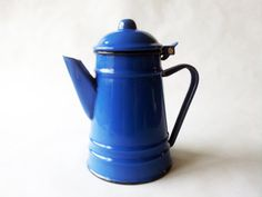 Blue Enamel Teapot/ French enamelware/ by PetitesChosesDeLaVie, $39.00