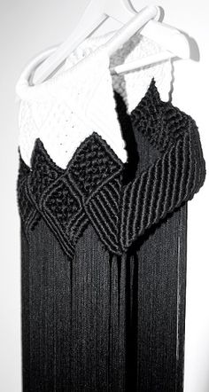 Modern Macrame Fashion - knotted fringe dress; textile techniques; fabric manipulation // Eleanor Amoroso AW13