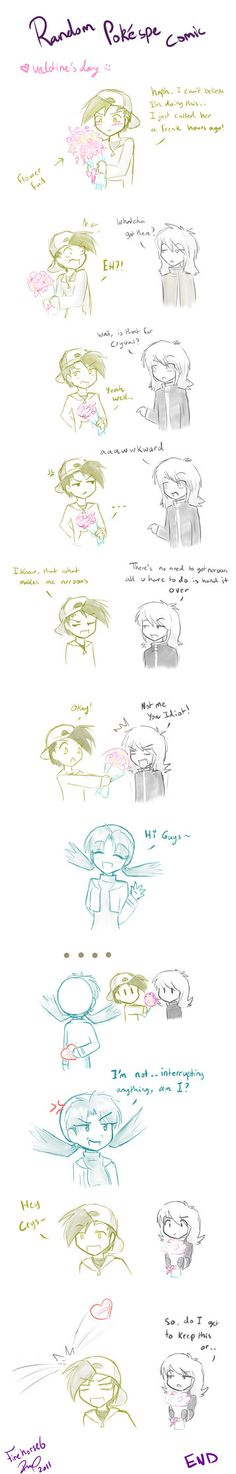 Random comic is random :P pay no attention to the drawing quality, i rly drew this quick and out of boredom  i dont actually celebrate valentine's hehe i just did this for fun to all those Preciousmetal Mangaquest shippers~ :heart:  Note: Silver's a guy, people! XD (i make him look like a girl OTL) -Firehorse 6