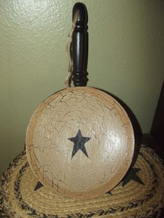 Primitive Crackle Wood Pan, Wall Hanging~ Black Stars ~ Country Decor #NaivePrimitive