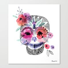 Canvas Print 13x15, 18x21   Ornate Skull drawing, with watercolor flowers, coral, red, mandarin, lavender, twilight, mint, black and white, gray, doodle, line art, botanical, feathers, pretty, day of the dead, flowers, bringing beauty and life to death, pirate, carribean, home decor