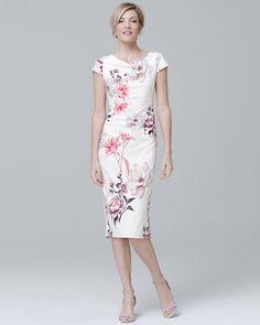 Cap-Sleeve Lily-Print Sheath Dress