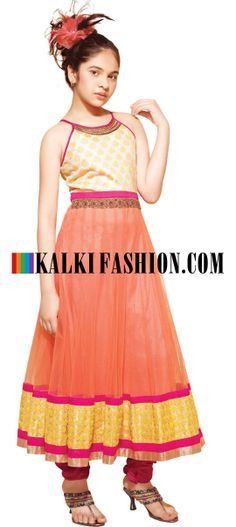 Buy Online from the link below. We ship worldwide (Free Shipping over US$100)   http://www.kalkifashion.com/peach-anarkali-suit-embroidered-in-thread.html