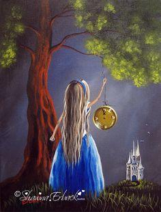 Original Cinderella Painting ERBACK ART Fairy Tale Surreal Fantasy Modern ooak #Surrealism