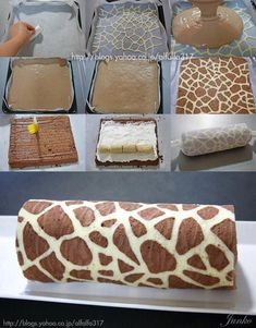 Giraffe Patterned Swiss Roll  Trace out giraffe patttern on a greaseproof paper. Prepare a swiss roll pan and place the paper with the pattern on the pan before lining it with another piece of greaseproof paper.