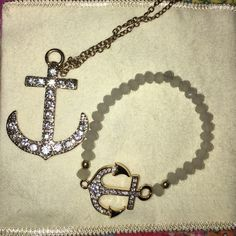 Gold anchor necklace & bracelet bundle Like new. The bracelet is express & the long anchor necklace is from Icing Express Jewelry Necklaces
