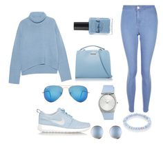 """""""Blue  ❄️❄️❄️❄️"""" by fasion002 ❤ liked on Polyvore featuring iHeart, New Look, NIKE, Lauren B. Beauty, Ray-Ban, ESCADA and Sydney Evan"""