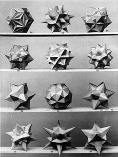 polyhedra & icosahedron models, from Uber die gleichecking-gleichflachigen, diskontinuierlichen und nichtkonvexen Polyheder, by Prof. Dr. Max Bruckner, 1906