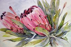 Protea Laurifolia, - 'Two's Company' Oil on canvas x painted by Ellie Eburne 2018 Oil Painting Flowers, Watercolor Flowers, Watercolor Paintings, Australian Flowers, Australian Art, Protea Art, Oil On Canvas, Canvas Art, Two's Company