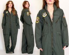 vintage 80s MILITARY FLIGHT JUMPSUIT army by TinRoofVintage, $145.00