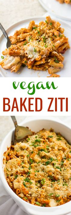 Vegan Baked Ziti is made with whole grain noodles (GF option), cashew cheese and vegan parmesan cheese. Classic pasta dish, made healthy! Veggie Recipes, Pasta Recipes, Whole Food Recipes, Vegetarian Recipes, Veggie Meals, Dinner Recipes, Vegan Parmesan Cheese, Cashew Cheese, Vegan Foods