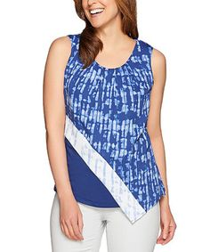 Look at this #zulilyfind! Broadway Blue Abstract Sleeveless Asymmetric Hem Top - Plus Too #zulilyfinds
