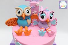 Hoot & Hootabelle cake toppers - fondant figurines by Sweet & Snazzy https://www.facebook.com/sweetandsnazzy