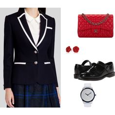 My School Uniform by unicornslifeever on Polyvore featuring Ted Baker, Dr. Martens, Chanel, Lacoste and Bling Jewelry
