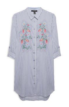 Primark - Blue Stripe Embroidered Shirt