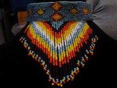 Collier perles style amérindien avec frange