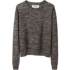 Acne Studios Bird Cropped Linen Pullover (695 SAR) ❤ liked on Polyvore featuring tops, sweaters, shirts, jumpers, crew neck shirt, slouchy sweater, long sleeve sweater, crop shirt and crewneck sweaters