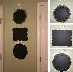 Dollar store platters covered in chalkboard paint.