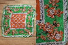 Vintage Vtg Vg 1930's 30's 1940's 40's 100 Percent Pure Silk Scarf in Green and Orange and Black Roses Rose Hips Flowers Retro High Fashion by foxandfawns on Etsy
