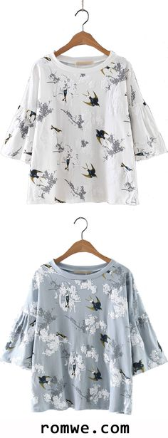 Bell Sleeve Swallow Printed Blouse