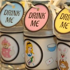 Bright Alice in Wonderland Bottle Wraps & Tags, alice in wonderland party, mad hatter party