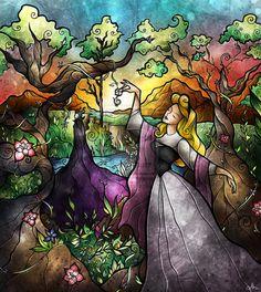 """Stained Glass"" Disney Art by Mandie Manzano"