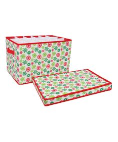 Look at this Green & Red Snowflake Ornament Organizer on #zulily today!