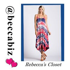 "⏰SPECIAL DEAL⏰ Super Cute tie dye maxi dress 😍 No offers on special sales. Additional discount with bundling.  Very cute navy and red tie dye sleeveless dress with variable length hemline.  95% rayon and 5% spandex.   Made in the USA.  Please see size chart.    Variable Length shortest 41"" and longest 50"".   Adjustable straps. No Trades. Boutique Dresses"