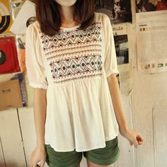 Cross stitch 2013 chest flower rayon all-match loose white short-sleeve