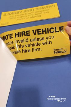 Self adhesive car window stickers printed in yellow and black for the Borough of Pendle. The Private Hire Vehicle car window stickers are reverse printed so the design appears on the sticky side. The car window stickers warn that the insurance is invalid unless they have pre-booked the vehicle with the private hire firm. Car Window Stickers, Car Stickers, Rear Window, Custom Cars, Screen Printing, Adhesive, Vehicle, Yellow, Printed