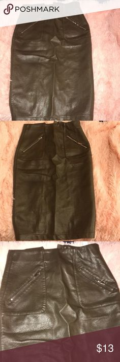 52fda08e01 Zara faux leather green midi skirt Faux leather knee length skirt size XS  Zara Skirts Zara