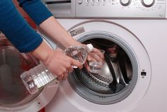 You should clean your washing machine at least once per month with baking soda and white vinegar to prevent build-up! Good to know!