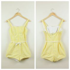 Vintage 1950s swimsuit // 50s yellow gingham by ReviveVintage