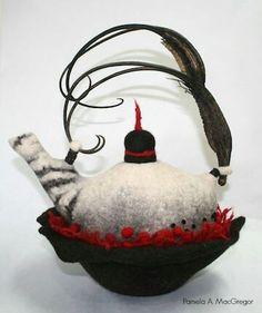 Resist method by Pamela MacGregor Textile Sculpture, Textile Fiber Art, Fibre Art, Wet Felting, Needle Felting, Textiles, Cute Teapot, Sacred Art, Felt Art