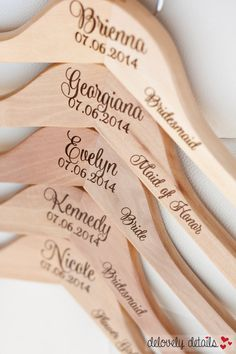 6 - Personalized Bridesmaid Hangers - Engraved Wood Hangers by DelovelyDetails on Etsy https://www.etsy.com/listing/179136374/6-personalized-bridesmaid-hangers