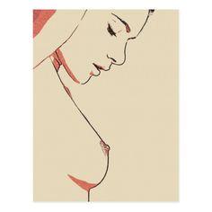 Sexy tease, hot topless girl posing, erotic nude postcard #sensual #erotic #Sexy #tease, hot #topless #girl posing, erotic #nude #art #sketch #postcard @zazzle