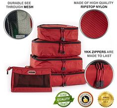 4 Piece Set Packing Cubes  Travel Organizers with Toiletries Bag Red * Click image to review more details.