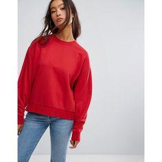 Weekday Huge Cropped Sweatshirt (€28) ❤ liked on Polyvore featuring tops, hoodies, sweatshirts, red, long sleeve cotton tops, crew neck crop top, red crop top, red top and red crewneck sweatshirt