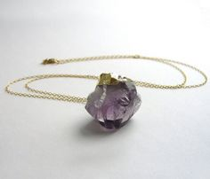 #Raw Amethyst Necklace by solis jewelry // wabi-sabi, nature-made design