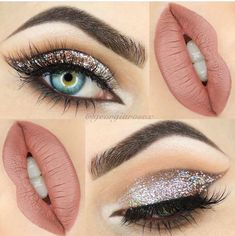 glitter cat eye cut crease makeup @georgiarosex: champagne + taupe, nude lips