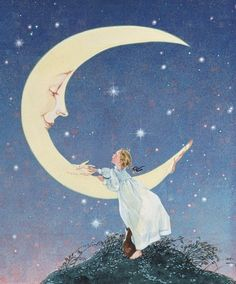 Moondreams Janet's Note: When I was a little girl, walking to and from school, I used to imagine that the crescent moon would swoop down from the sky and carry me home. I don't know whose artwork this is, but I love it! ♥