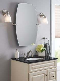 The Moen Rockcliff mirror gives you endless flexibility—tilting with your everyday routine.