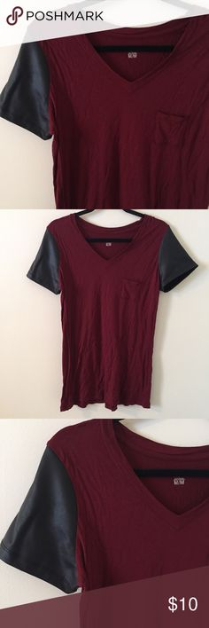 Mossimo Leather Sleeve Top Black leather sleeve v-neck with a maroon soft cotton style. Worn only once. Mossimo brand- purchased from Target. Worn only once! Mossimo Supply Co Tops