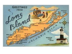 Long Island, New York - The Long Island Railroad runs from Pennsylvania Station in Manhattan to various points on Long Island on many branches. Service is not as frequent as the NYC subways. Take the Long Island Rail Road from Penn Station to Long Beach. Map Long Island, Island Map, Fire Island, Map Of New York, Montauk Point, Jones Beach, Nyc, Island Girl, New York City