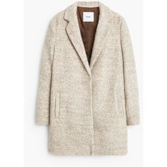 Bouclé Wool Coat (€115) ❤ liked on Polyvore featuring outerwear, coats, jackets, veste, lapel coat, pink coat, wool coat, mango coat and woolen coat