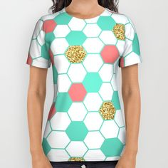Mint Coral Gold Glitter Honeycomb Scatter All Over Print Shirt by Doucette Designs | Society6#57=422
