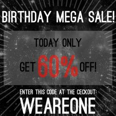 Starting at midnight and ending at midnight tomorrow!! Enter WEAREONE at the checkout to get this deal!  Discount applies to EVERYTHING except already discounted items and rings from the Xenosis collection.